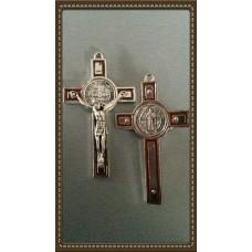 Krzyż Św. Benedykta 8/4cm srebrno/czerwony
