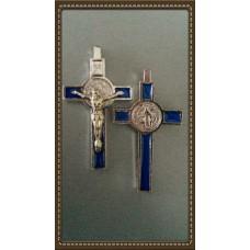 Krzyż Św. Benedykta 8/4,5cm srebrno/niebieski