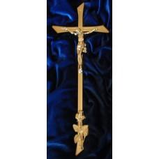 Krzyż odlew 42/16Mosiadz K-13cm z Róża